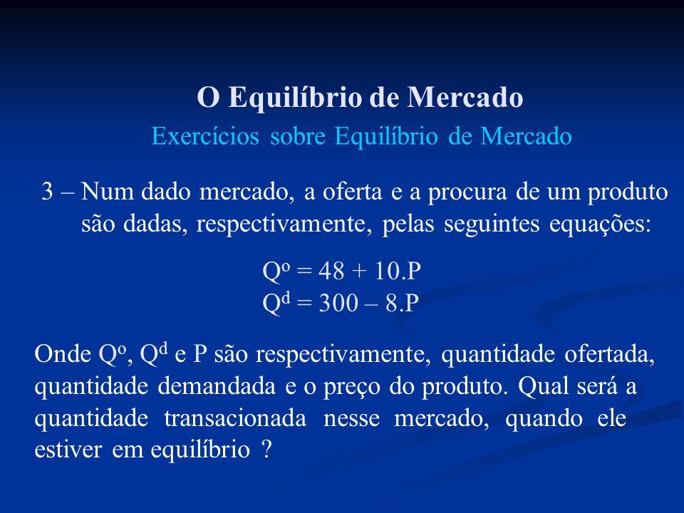 O Equilíbrio de Mercado Exercícios sobre Equilíbrio de Mercado 3 – Num dado mercado, a oferta e a procura de um produto são dadas, respectivamente, pe