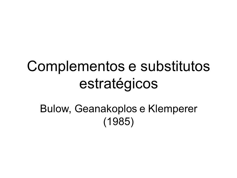 Complementos e substitutos estratégicos Bulow, Geanakoplos e Klemperer (1985)