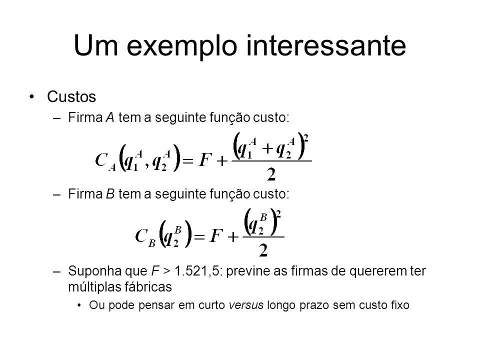 Um exemplo interessante Custos –Firma A tem a seguinte função custo: –Firma B tem a seguinte função custo: –Suponha que F > 1.521,5: previne as firmas