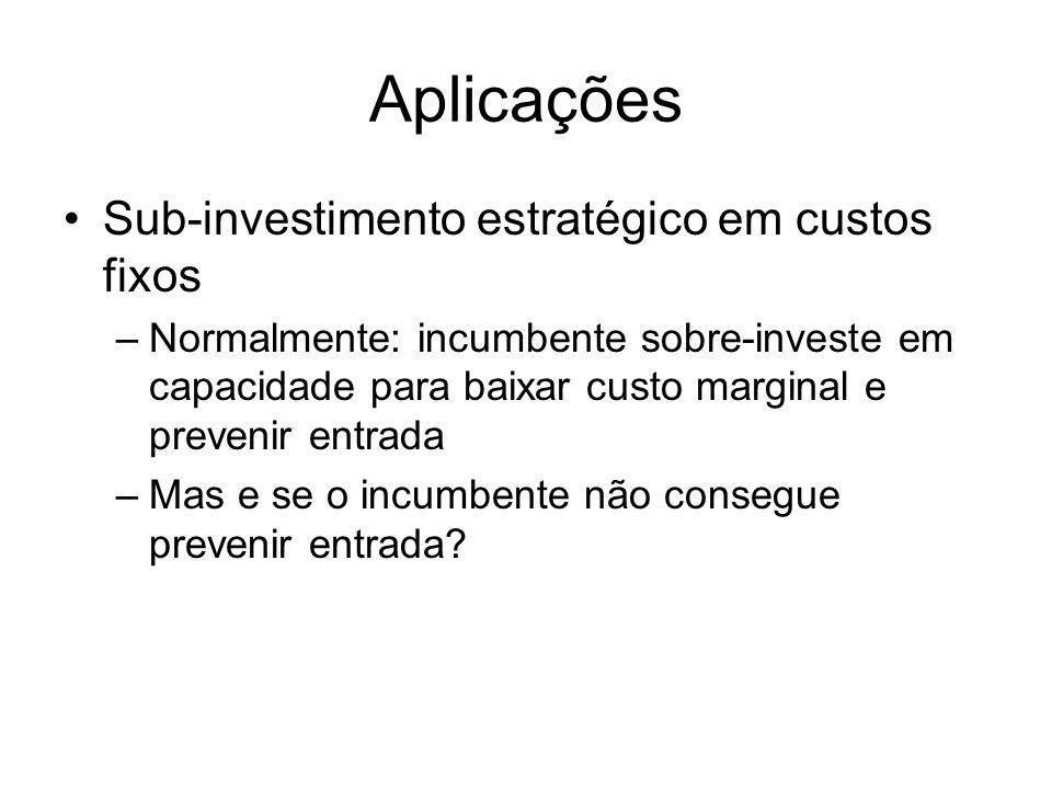 Aplicações Sub-investimento estratégico em custos fixos –Normalmente: incumbente sobre-investe em capacidade para baixar custo marginal e prevenir ent