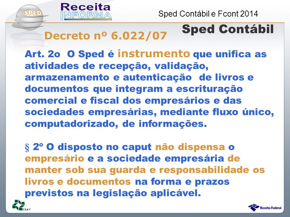 Sped Contábil e Fcont 2014 Art.