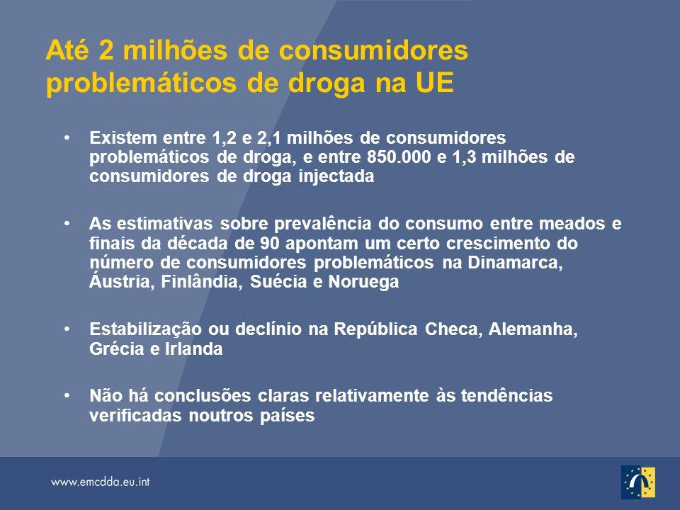 Até 2 milhões de consumidores problemáticos de droga na UE Existem entre 1,2 e 2,1 milhões de consumidores problemáticos de droga, e entre 850.000 e 1