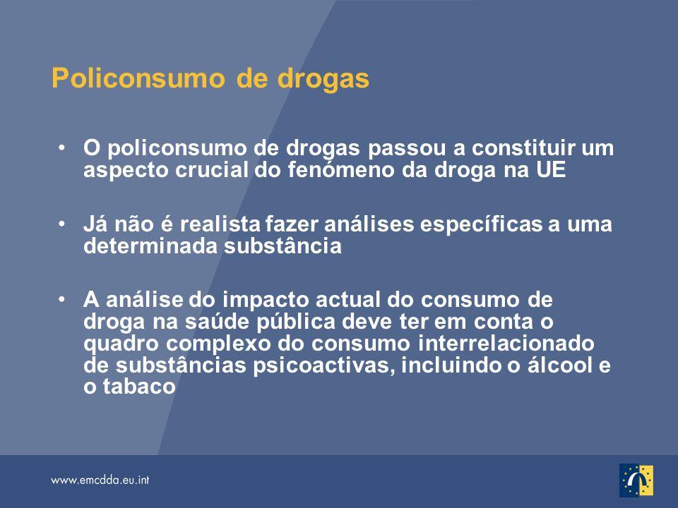 Policonsumo de drogas O policonsumo de drogas passou a constituir um aspecto crucial do fenómeno da droga na UE Já não é realista fazer análises espec