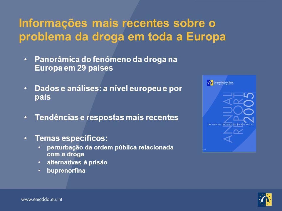 Informações mais recentes sobre o problema da droga em toda a Europa Panorâmica do fenómeno da droga na Europa em 29 países Dados e análises: a nível europeu e por país Tendências e respostas mais recentes Temas específicos: perturbação da ordem pública relacionada com a droga alternativas à prisão buprenorfina