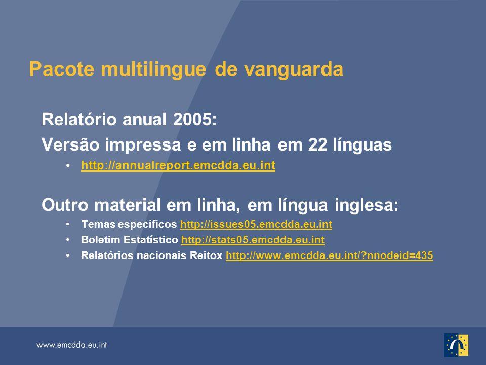 Pacote multilingue de vanguarda Relatório anual 2005: Versão impressa e em linha em 22 línguas http://annualreport.emcdda.eu.inthttp://annualreport.em