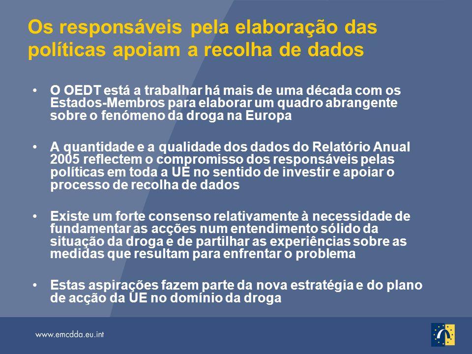 Os responsáveis pela elaboração das políticas apoiam a recolha de dados O OEDT está a trabalhar há mais de uma década com os Estados-Membros para elaborar um quadro abrangente sobre o fenómeno da droga na Europa A quantidade e a qualidade dos dados do Relatório Anual 2005 reflectem o compromisso dos responsáveis pelas políticas em toda a UE no sentido de investir e apoiar o processo de recolha de dados Existe um forte consenso relativamente à necessidade de fundamentar as acções num entendimento sólido da situação da droga e de partilhar as experiências sobre as medidas que resultam para enfrentar o problema Estas aspirações fazem parte da nova estratégia e do plano de acção da UE no domínio da droga