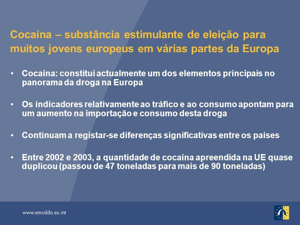 Cocaína – substância estimulante de eleição para muitos jovens europeus em várias partes da Europa Cocaína: constitui actualmente um dos elementos pri