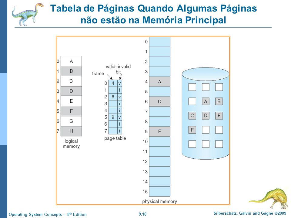 9.10 Silberschatz, Galvin and Gagne ©2009 Operating System Concepts – 8 th Edition Tabela de Páginas Quando Algumas Páginas não estão na Memória Principal