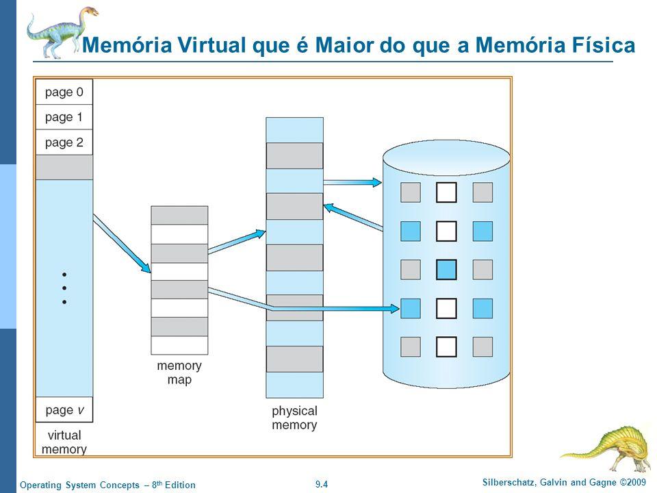 9.5 Silberschatz, Galvin and Gagne ©2009 Operating System Concepts – 8 th Edition Espaço de Endereçamento Virtual