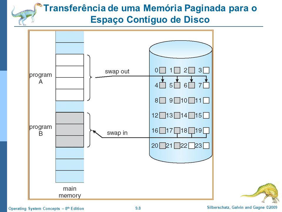 9.8 Silberschatz, Galvin and Gagne ©2009 Operating System Concepts – 8 th Edition Transferência de uma Memória Paginada para o Espaço Contíguo de Disco