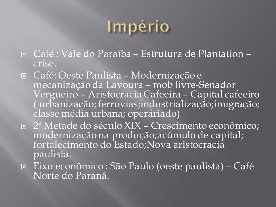 Café : Vale do Paraíba – Estrutura de Plantation – crise. Café: Oeste Paulista – Modernização e mecanização da Lavoura – mob livre-Senador Vergueiro –
