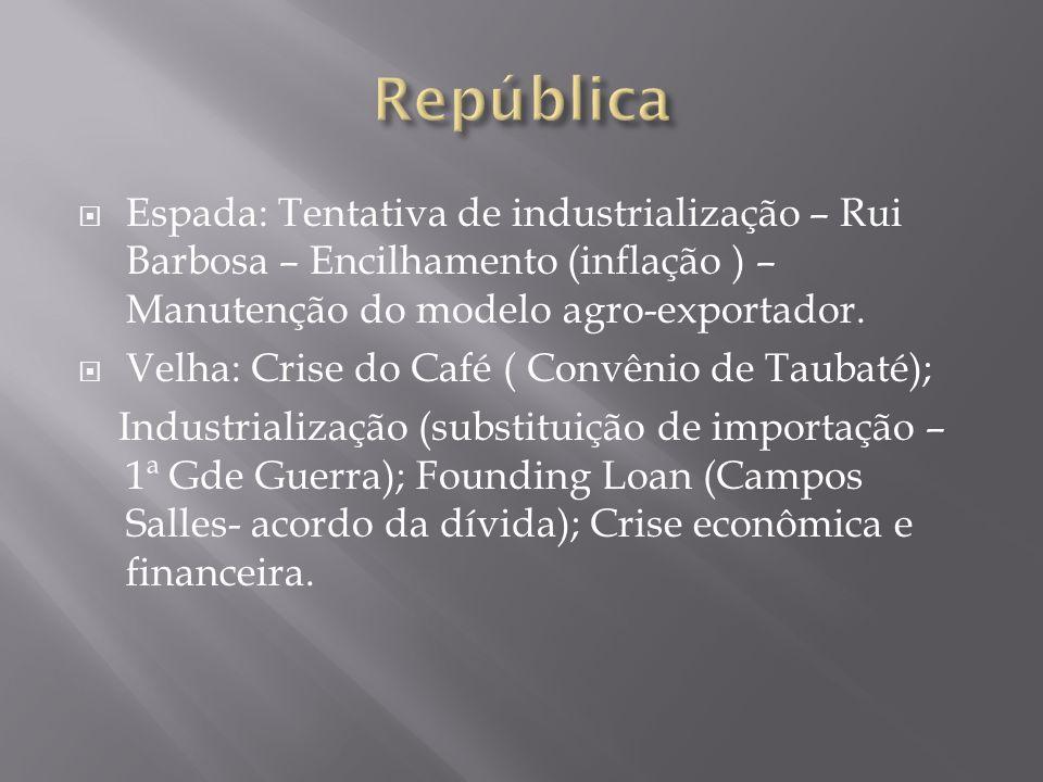 Espada: Tentativa de industrialização – Rui Barbosa – Encilhamento (inflação ) – Manutenção do modelo agro-exportador. Velha: Crise do Café ( Convênio