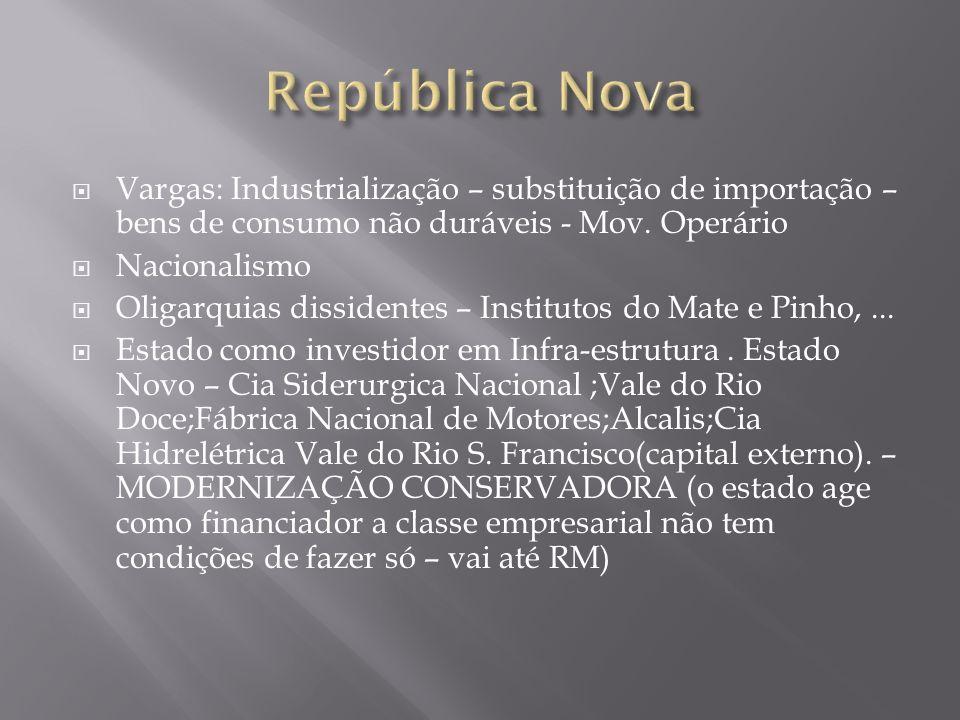 Vargas: Industrialização – substituição de importação – bens de consumo não duráveis - Mov. Operário Nacionalismo Oligarquias dissidentes – Institutos