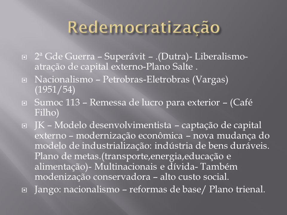 2ª Gde Guerra – Superávit –.(Dutra)- Liberalismo- atração de capital externo-Plano Salte. Nacionalismo – Petrobras-Eletrobras (Vargas) (1951/54) Sumoc