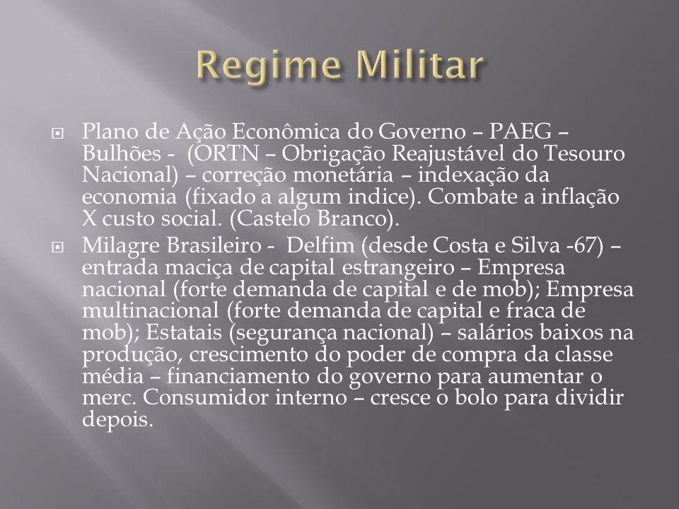 Plano de Ação Econômica do Governo – PAEG – Bulhões - (ORTN – Obrigação Reajustável do Tesouro Nacional) – correção monetária – indexação da economia