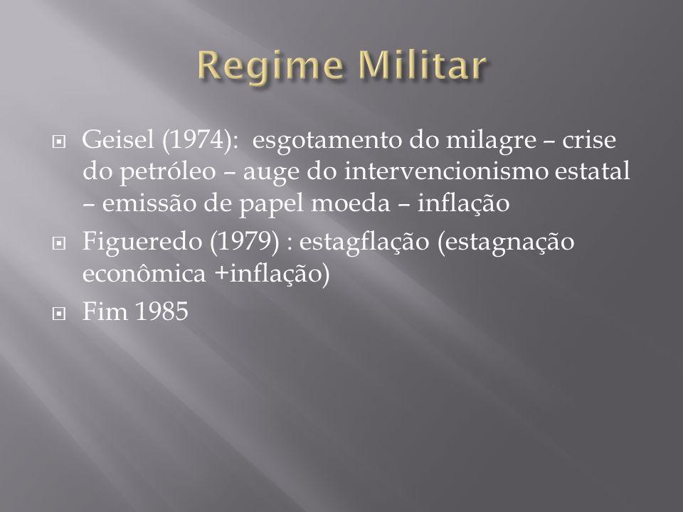 Geisel (1974): esgotamento do milagre – crise do petróleo – auge do intervencionismo estatal – emissão de papel moeda – inflação Figueredo (1979) : es