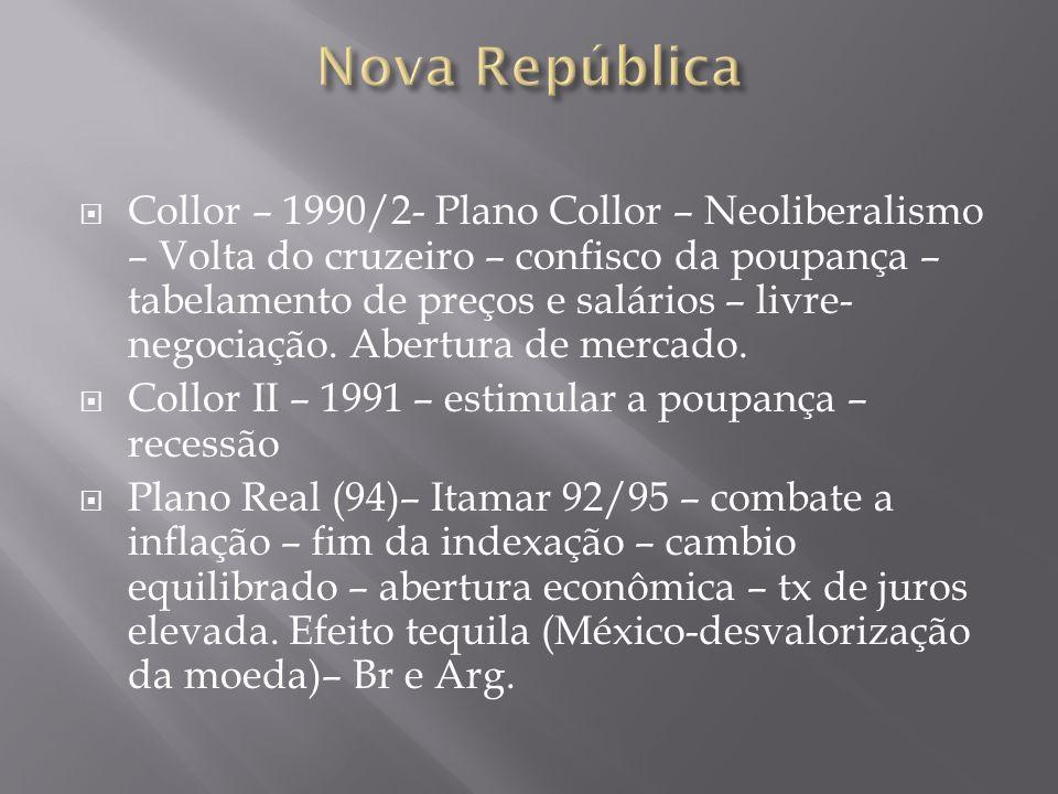 Collor – 1990/2- Plano Collor – Neoliberalismo – Volta do cruzeiro – confisco da poupança – tabelamento de preços e salários – livre- negociação. Aber