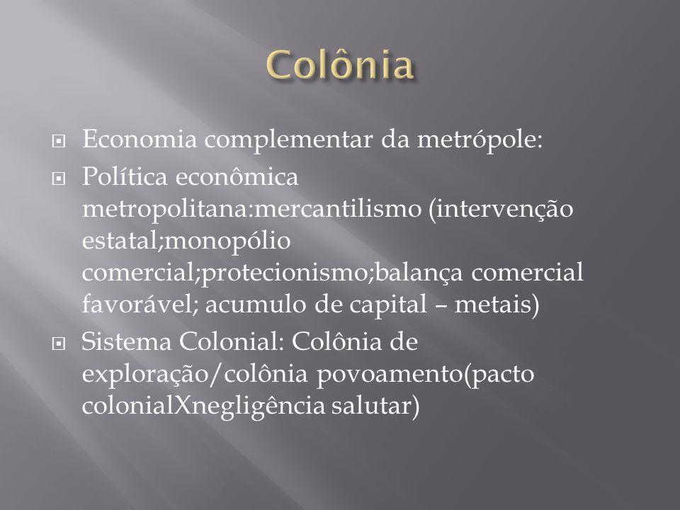 Colônia de exploração: Clima e terra favoráveis a plantio de gêneros tropicais; presença de metais – produtor de matéria prima e mercado consumidor.
