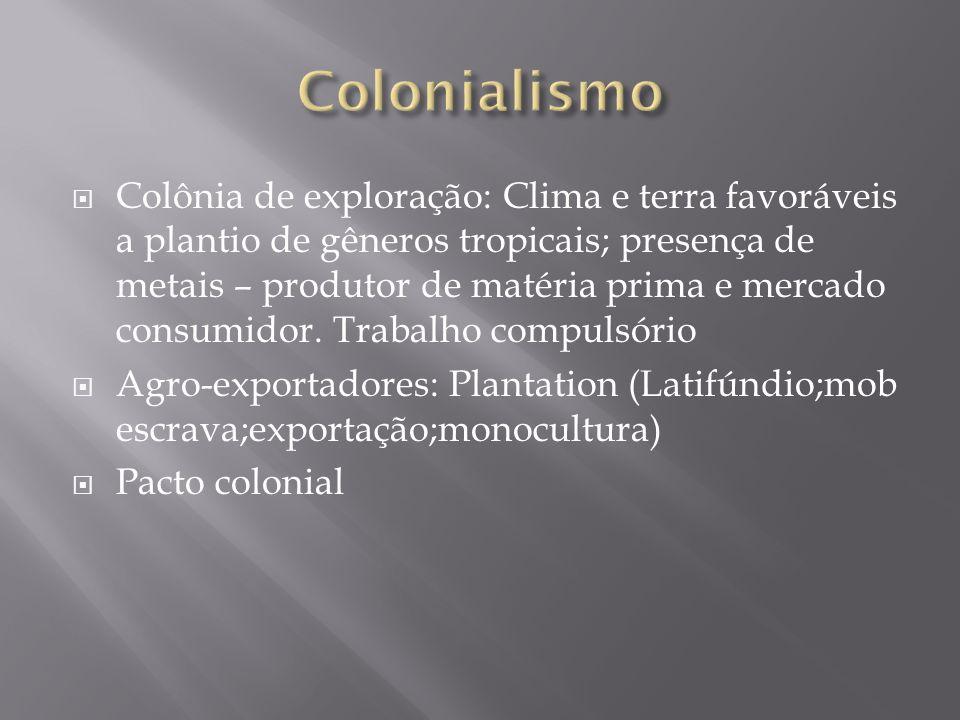 Colônia de exploração: Clima e terra favoráveis a plantio de gêneros tropicais; presença de metais – produtor de matéria prima e mercado consumidor. T
