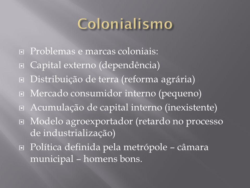 Problemas e marcas coloniais: Capital externo (dependência) Distribuição de terra (reforma agrária) Mercado consumidor interno (pequeno) Acumulação de
