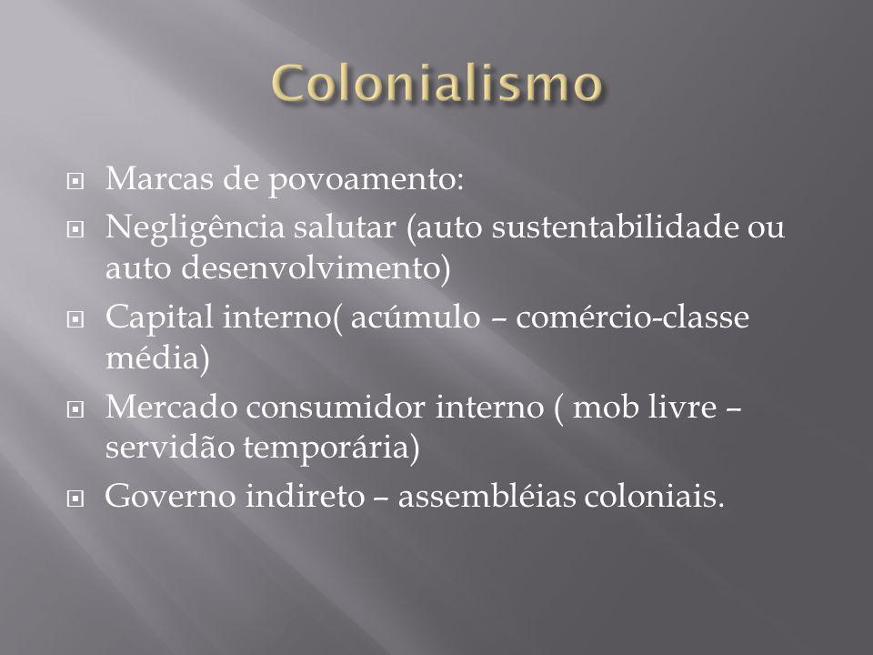 Marcas de povoamento: Negligência salutar (auto sustentabilidade ou auto desenvolvimento) Capital interno( acúmulo – comércio-classe média) Mercado co