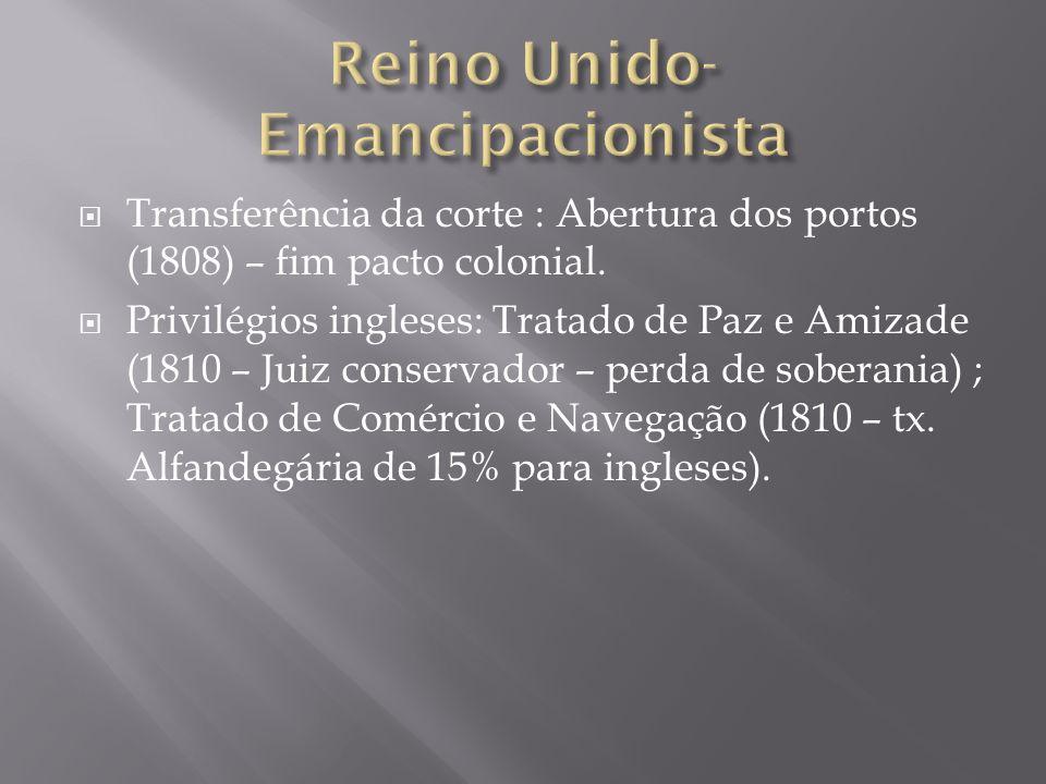 Transferência da corte : Abertura dos portos (1808) – fim pacto colonial. Privilégios ingleses: Tratado de Paz e Amizade (1810 – Juiz conservador – pe