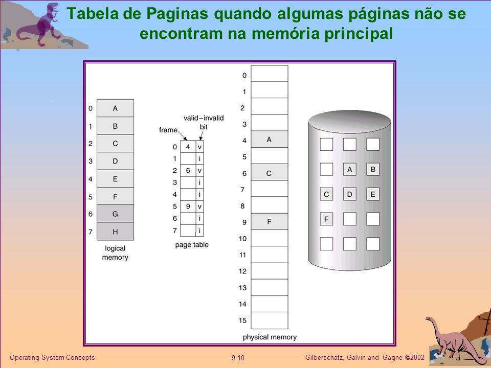 Silberschatz, Galvin and Gagne 2002 9.10 Operating System Concepts Tabela de Paginas quando algumas páginas não se encontram na memória principal
