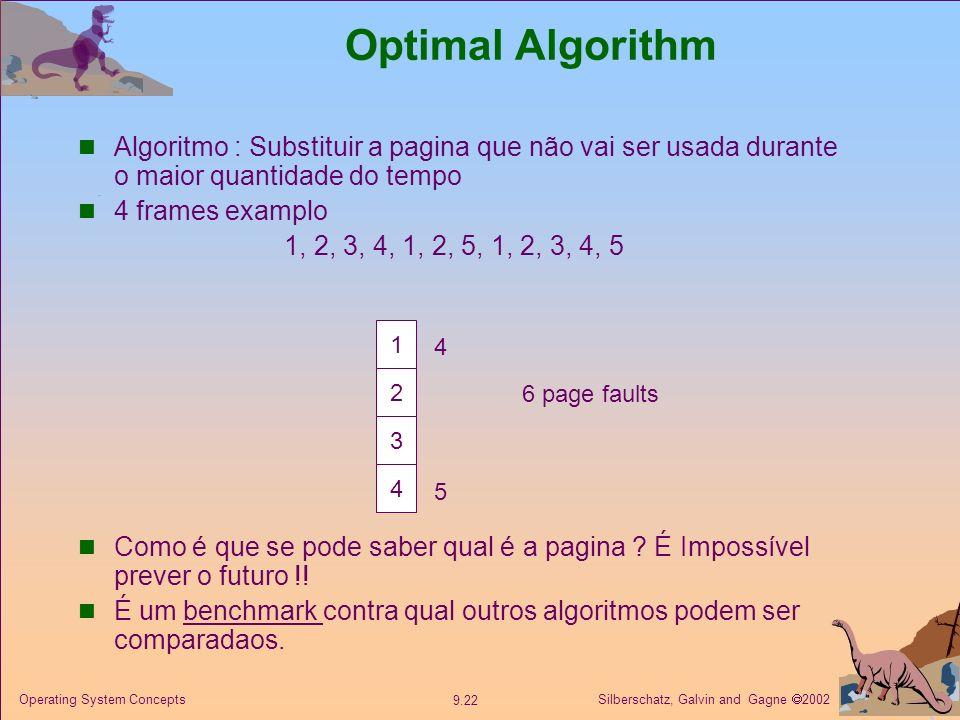 Silberschatz, Galvin and Gagne 2002 9.22 Operating System Concepts Optimal Algorithm Algoritmo : Substituir a pagina que não vai ser usada durante o m