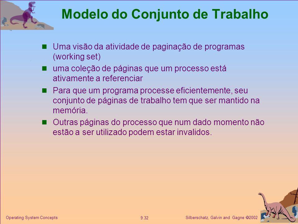 Silberschatz, Galvin and Gagne 2002 9.32 Operating System Concepts Modelo do Conjunto de Trabalho Uma visão da atividade de paginação de programas (wo