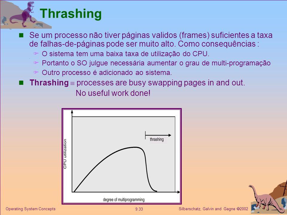 Silberschatz, Galvin and Gagne 2002 9.33 Operating System Concepts Thrashing Se um processo não tiver páginas validos (frames) suficientes a taxa de f