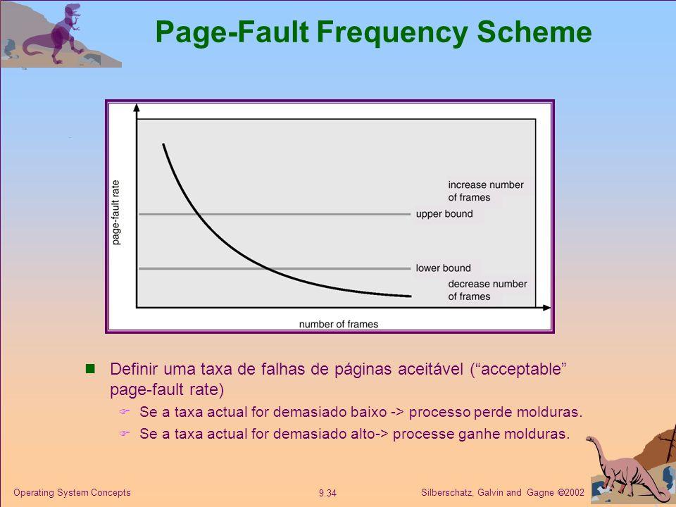 Silberschatz, Galvin and Gagne 2002 9.34 Operating System Concepts Page-Fault Frequency Scheme Definir uma taxa de falhas de páginas aceitável (accept
