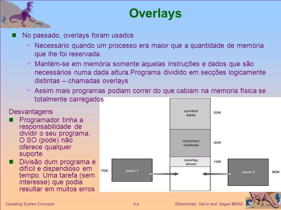 Silberschatz, Galvin and Gagne 2002 9.4 Operating System Concepts Overlays Desvantagens Programador tinha a responsabilidade de dividir o seu programa