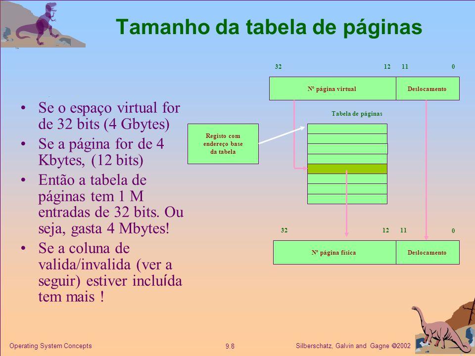 Silberschatz, Galvin and Gagne 2002 9.9 Operating System Concepts Implementação : Bit Válido-Inválido Na tabela de páginas cada página além de indicar um frame terá associado um bit válido–inválido (1=válido dentro da memória, 0=inválido fora da memória) Inicialmente o bit válido–invalido é zero para todos as entradas.