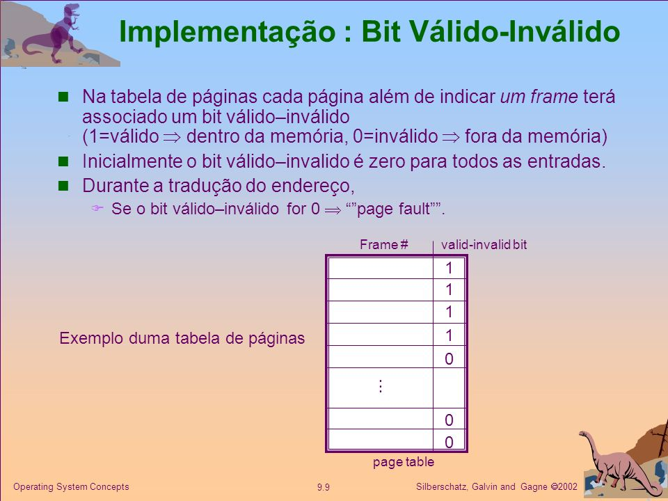 Silberschatz, Galvin and Gagne 2002 9.9 Operating System Concepts Implementação : Bit Válido-Inválido Na tabela de páginas cada página além de indicar