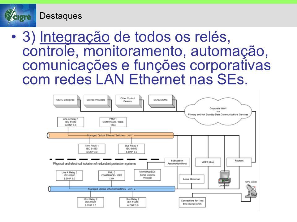 Destaques 3) Integração de todos os relés, controle, monitoramento, automação, comunicações e funções corporativas com redes LAN Ethernet nas SEs.