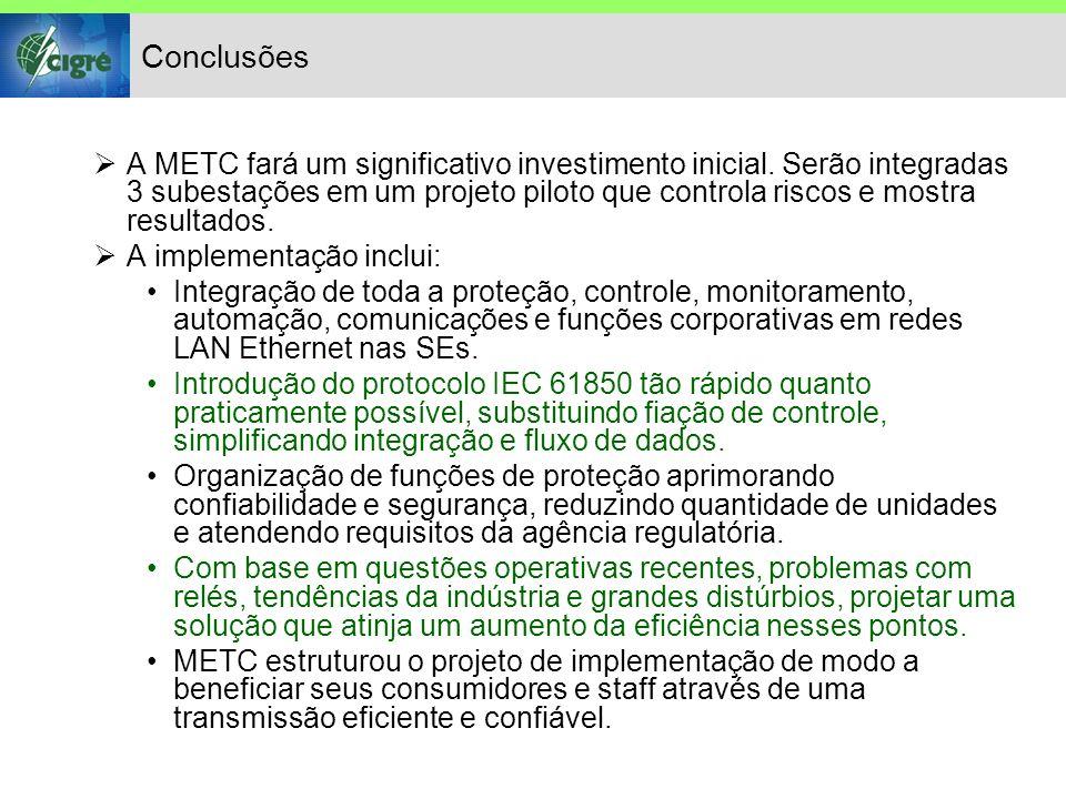 Conclusões A METC fará um significativo investimento inicial.