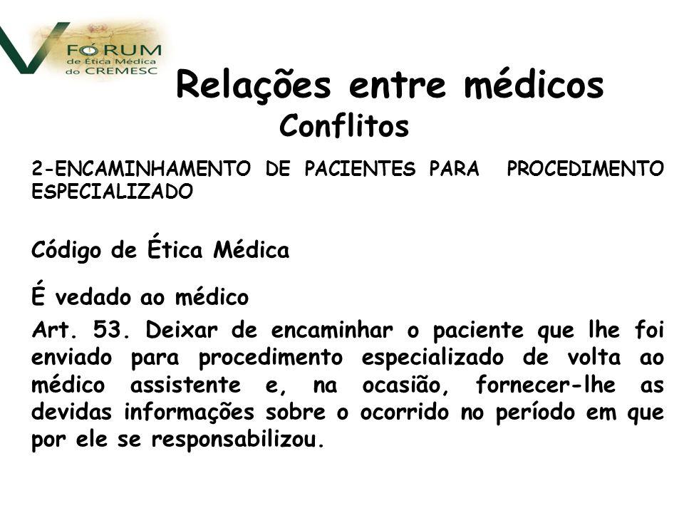 Conflitos 2-ENCAMINHAMENTO DE PACIENTES PARA PROCEDIMENTO ESPECIALIZADO Código de Ética Médica É vedado ao médico Art.
