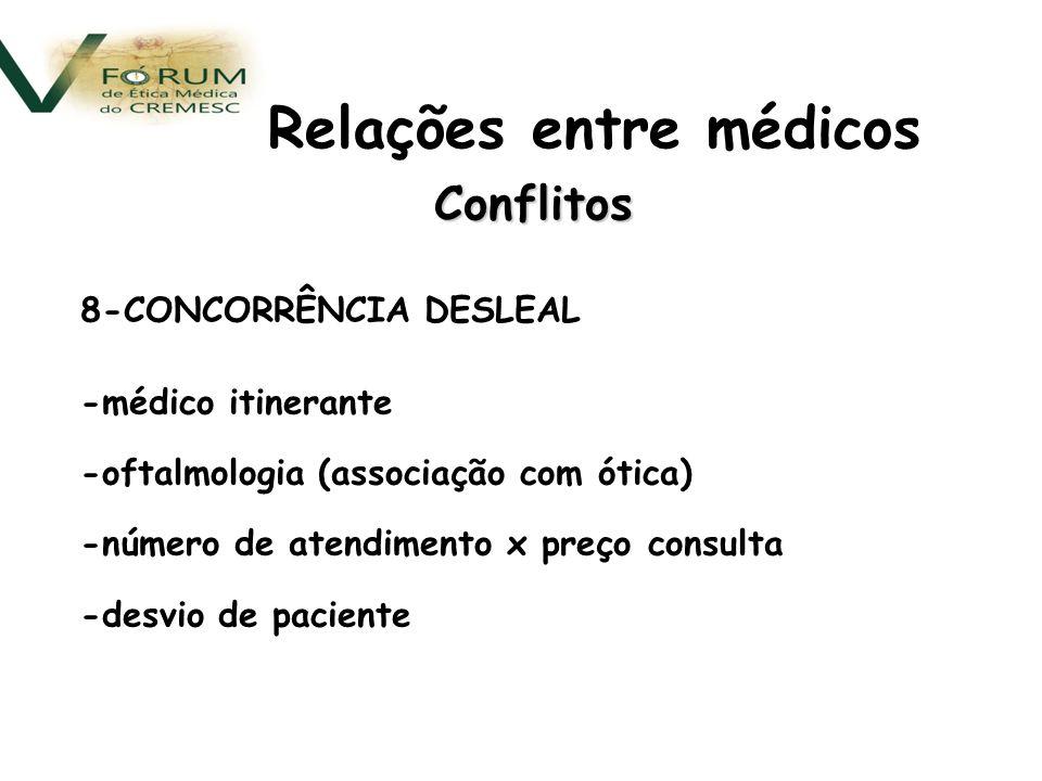 Conflitos 8-CONCORRÊNCIA DESLEAL -médico itinerante -oftalmologia (associação com ótica) -número de atendimento x preço consulta -desvio de paciente Relações entre médicos