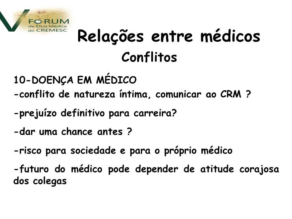 Conflitos 10-DOENÇA EM MÉDICO -conflito de natureza íntima, comunicar ao CRM .