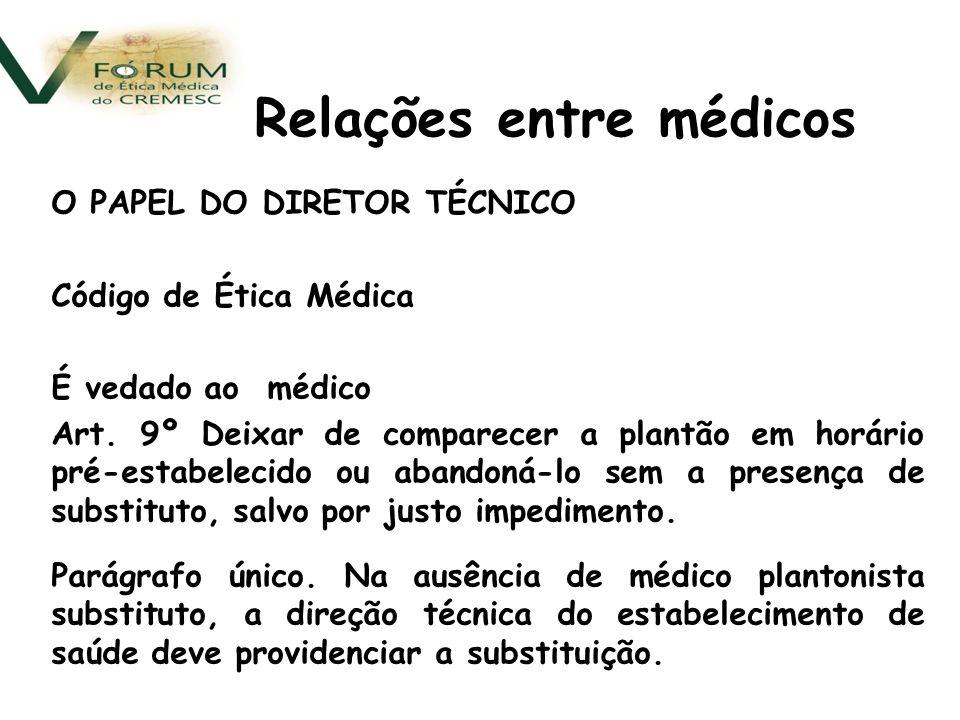 O PAPEL DO DIRETOR TÉCNICO Código de Ética Médica É vedado ao médico Art.