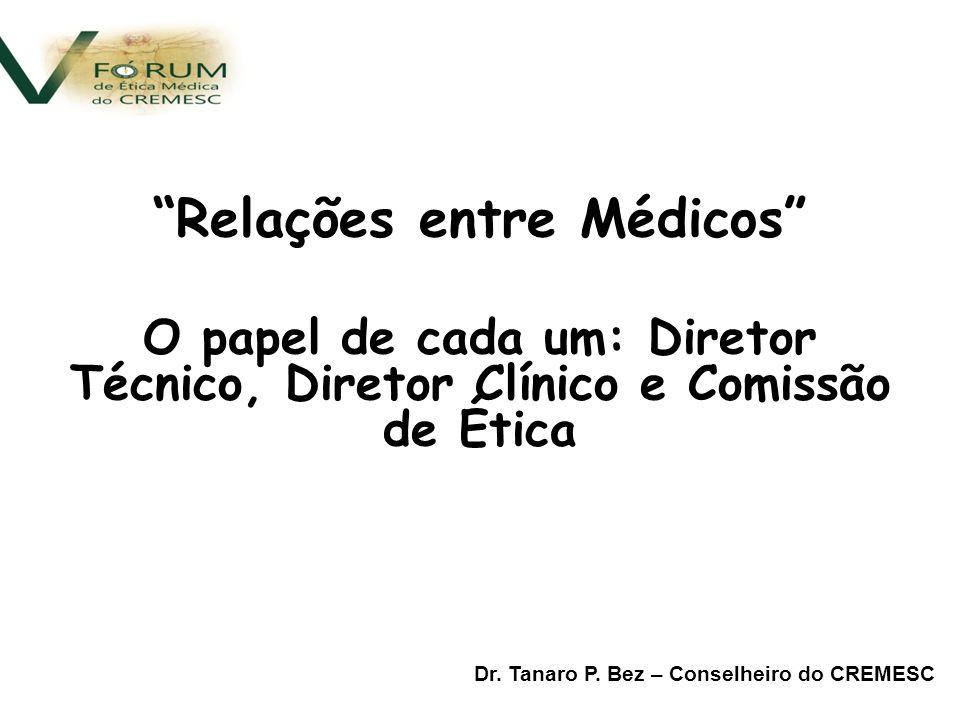 Relações entre Médicos O papel de cada um: Diretor Técnico, Diretor Clínico e Comissão de Ética Dr.