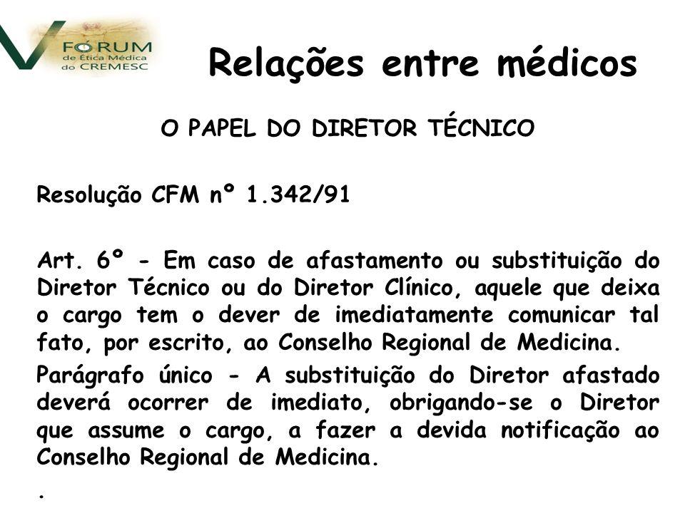 O PAPEL DO DIRETOR TÉCNICO Resolução CFM nº 1.342/91 Art.