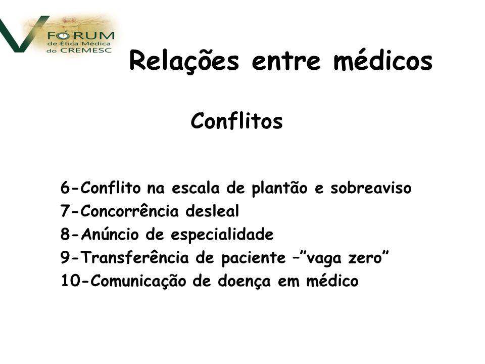 Conflitos 6-Conflito na escala de plantão e sobreaviso 7-Concorrência desleal 8-Anúncio de especialidade 9-Transferência de paciente –vaga zero 10-Comunicação de doença em médico Relações entre médicos