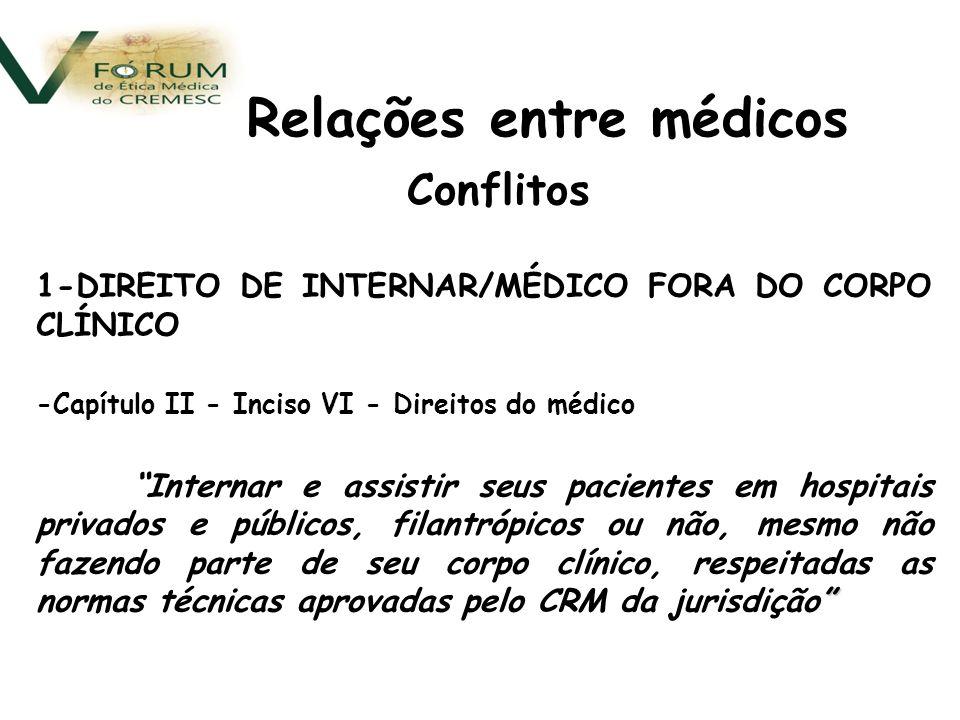 Conflitos 4- ASSISTENTES X AUDITORES/PERITOS Código de Ética Médica É vedado ao médico Art.
