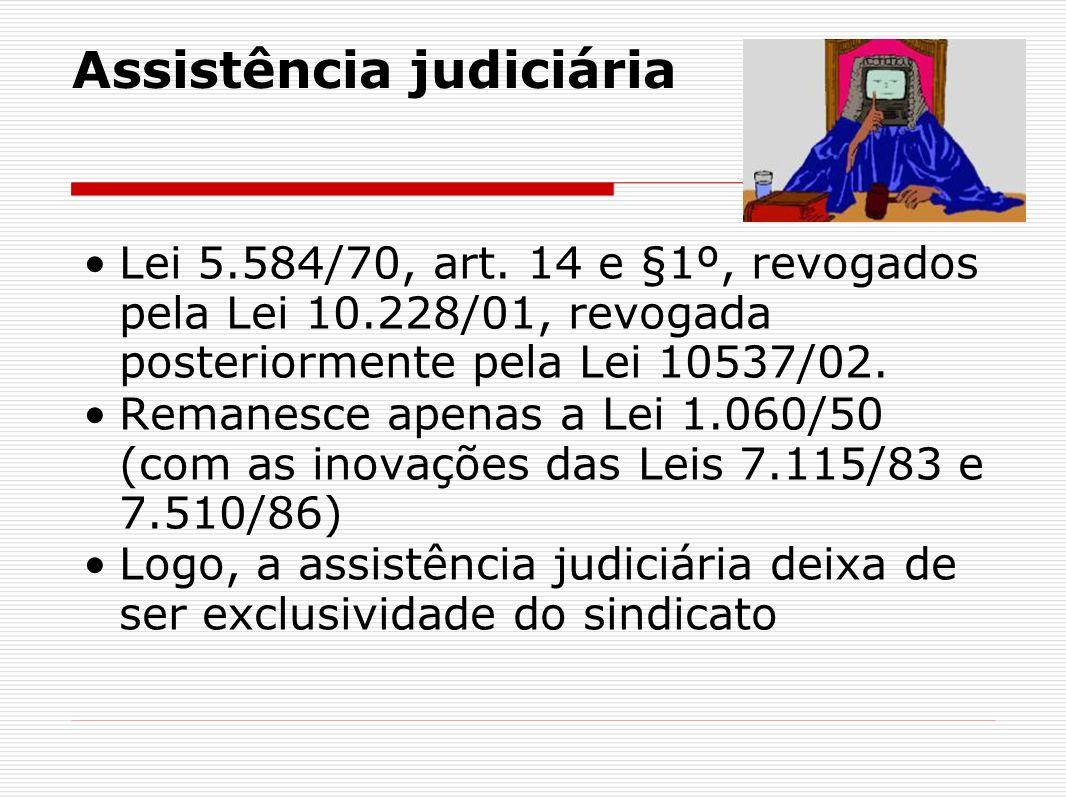 Assistência judiciária Lei 5.584/70, art. 14 e §1º, revogados pela Lei 10.228/01, revogada posteriormente pela Lei 10537/02. Remanesce apenas a Lei 1.