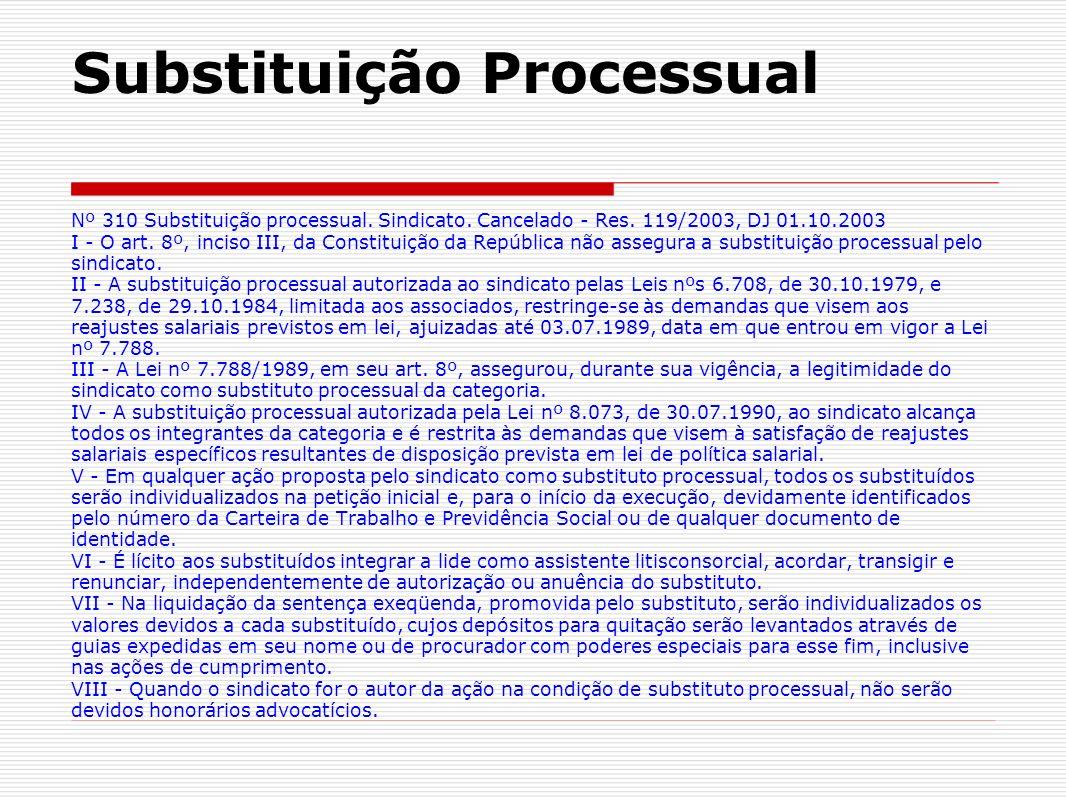 Substituição Processual Nº 310 Substituição processual. Sindicato. Cancelado - Res. 119/2003, DJ 01.10.2003 I - O art. 8º, inciso III, da Constituição