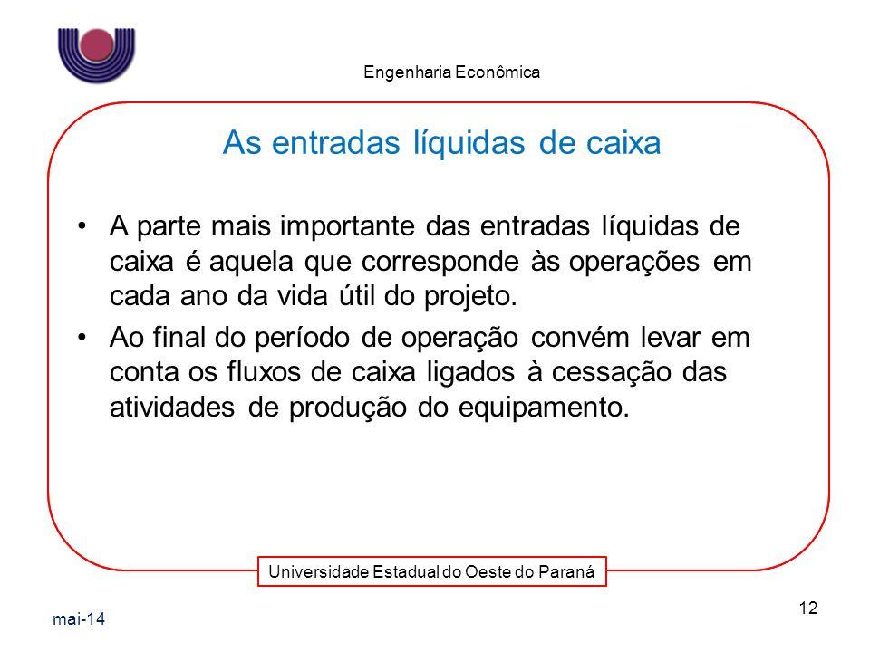 Universidade Estadual do Oeste do Paraná Engenharia Econômica A parte mais importante das entradas líquidas de caixa é aquela que corresponde às opera