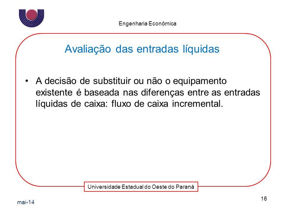 Universidade Estadual do Oeste do Paraná Engenharia Econômica A decisão de substituir ou não o equipamento existente é baseada nas diferenças entre as
