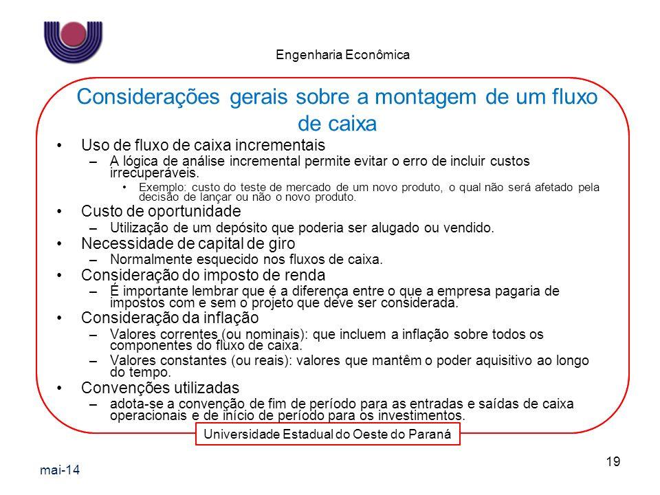Universidade Estadual do Oeste do Paraná Engenharia Econômica Uso de fluxo de caixa incrementais –A lógica de análise incremental permite evitar o err