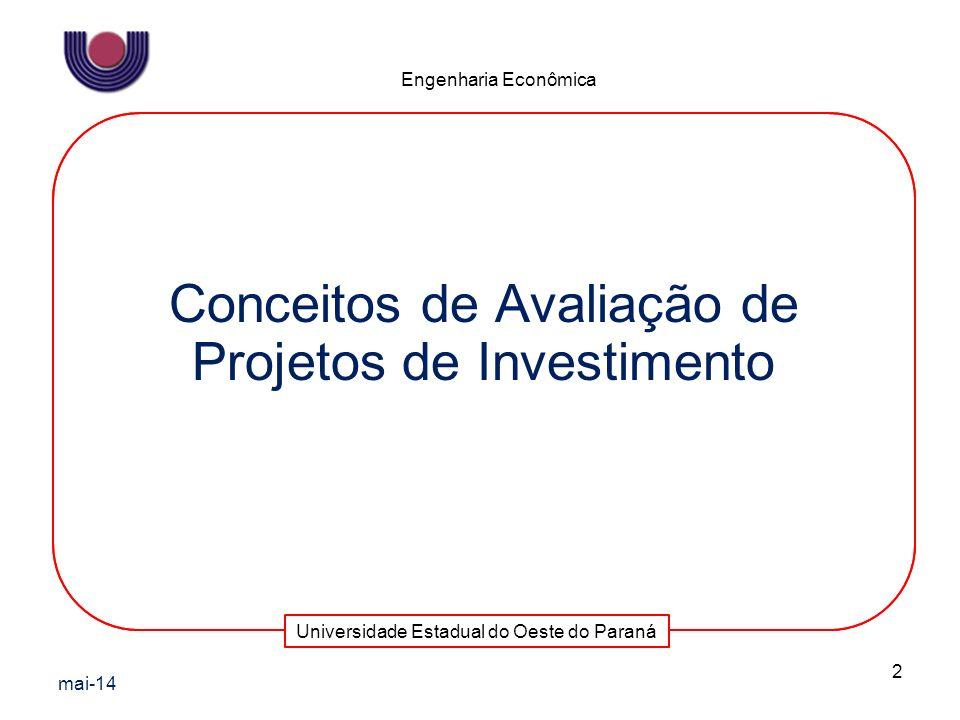 Universidade Estadual do Oeste do Paraná Engenharia Econômica Conceitos de Avaliação de Projetos de Investimento mai-14 2